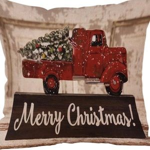 Other - Pillow Cover - New- Merry Christmas Red Truck